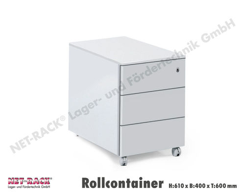 Rollcontainer mit 3 Laden, H:610xB:400xT:600mm